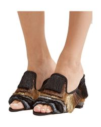 Sanayi 313 - Black Cascata Color-block Fringed Twill Mules - Lyst