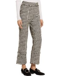 Erdem - Black Verity Straight-leg Hound's-tooth Trousers - Lyst
