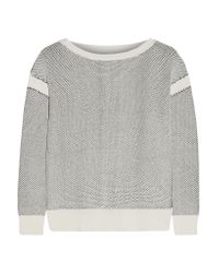 Vince - White Honeycomb-knit Cotton Sweater - Lyst