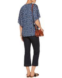 Diane von Furstenberg   Blue Stella Printed Silk-blend Top   Lyst