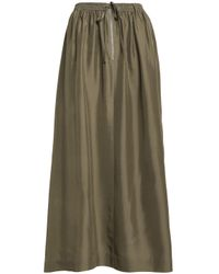 Joseph - Green Flint Gathered Silk-satin Midi Skirt - Lyst