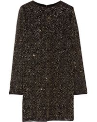 Alice + Olivia | Black Marcia Beaded Crepe Mini Dress | Lyst