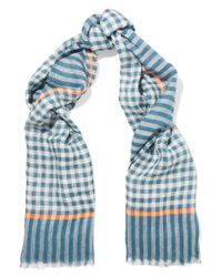 Marc By Marc Jacobs | Blue Belinda Checked Linen-blend Scarf | Lyst