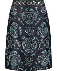 Tory Burch | Blue Embellished Silk-gazar Skirt | Lyst