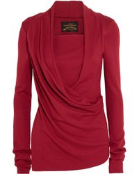 Vivienne Westwood Anglomania | Red Laeticia Wrap-effect Stretch-jersey Top | Lyst