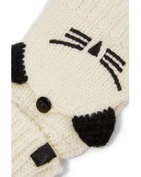 Karl Lagerfeld - Natural Intarsia-knit Wool-blend Gloves - Lyst