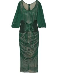 Dolce & Gabbana | Green Lace-up Ruched Silk-tulle Dress | Lyst