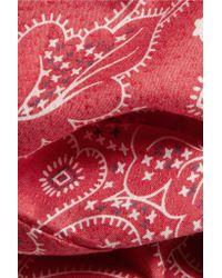 Current/Elliott - Red The Western Davis Printed Chambray Shirt - Lyst