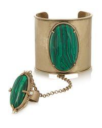 Tory Burch   Green Gold-tone Cabochon Finger Bracelet   Lyst