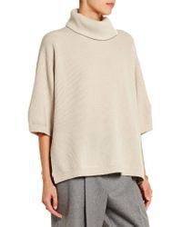 Brunello Cucinelli - Blue Zip-detailed Cashmere-blend Turtleneck Sweater - Lyst