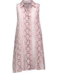 Equipment | Pink Mina Snake-print Washed-silk Mini Dress | Lyst
