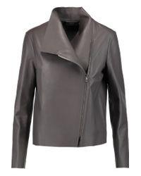 JOSEPH | Gray Libra Leather Biker Jacket | Lyst