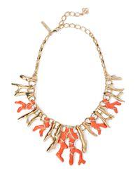 Oscar de la Renta | Metallic Gold-tone, Crystal And Resin Necklace | Lyst