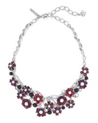 Oscar de la Renta | Red Silver-tone, Faux Pearl And Resin Necklace | Lyst