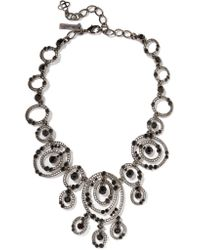 Oscar de la Renta | Black Gunmetal-tone Crystal Necklace | Lyst