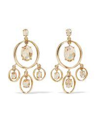 Oscar de la Renta | Metallic Gold-tone Crystal Earrings | Lyst