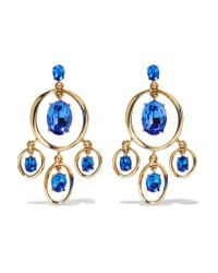 Oscar de la Renta | Blue Gold-tone Crystal Earrings | Lyst