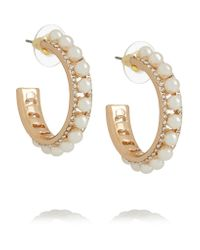 Kenneth Jay Lane   Metallic Gold-tone Faux Pearl And Crystal Earrings   Lyst