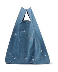 MM6 by Maison Martin Margiela | Blue Paint-splattered Denim Tote | Lyst