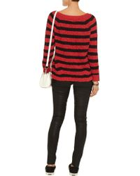 Maje - Black Striped Cotton And Linen-blend Sweater - Lyst
