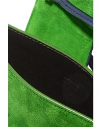 Jil Sander - Green Micro Cutout Leather And Suede Shoulder Bag - Lyst
