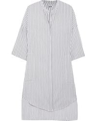 DKNY - Gray Striped Voile Nightdress - Lyst