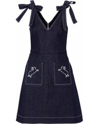Markus Lupfer - Blue Embroidered Denim Mini Dress - Lyst
