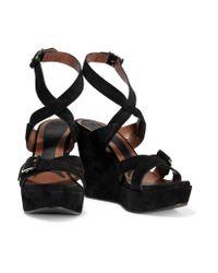 Marni   Purple Suede Wedge Sandals   Lyst