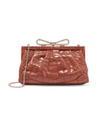 Valentino | Brown Bow-embellished Alligator Clutch | Lyst