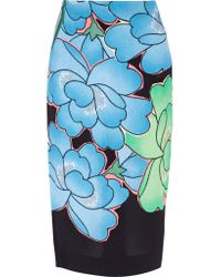 Marni   Blue Floral-print Crepe Skirt   Lyst