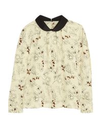 Marni | Multicolor Printed Silk-blend Crepe Top | Lyst