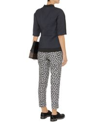 Marni | Blue Two-tone Silk And Wool-blend Twill Top | Lyst
