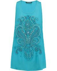 Balmain | Blue Embellished Silk-crepe Top | Lyst