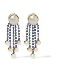 Valentino | Blue Gold-plated, Faux Pearl And Crystal Earrings | Lyst