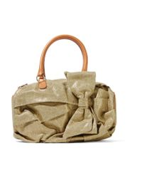 RED Valentino | Leather-trimmed Metallic Canvas Shoulder Bag | Lyst