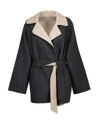 Max Mara - Gray Two-tone Wool And Angora-blend Felt Coat - Lyst