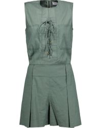 10 Crosby Derek Lam | Green Lace-up Linen-blend Twill Playsuit | Lyst