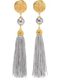 Ben-Amun - Gray Gold-tone, Faux Pearl And Tassel Clip Earrings - Lyst