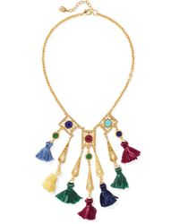 Ben-Amun | Metallic Gold-tone Stone And Tassel Necklace | Lyst
