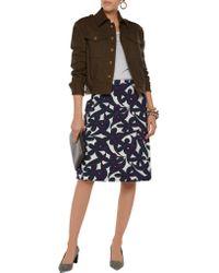 Marni - Blue Printed Stretch Wool-blend Skirt - Lyst