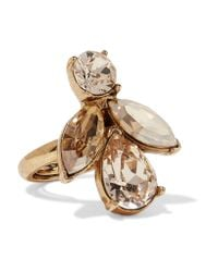 Oscar de la Renta | Metallic Gold-plated Crystal Ring | Lyst