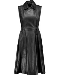 Acne | Black Levice Pleated Leather Dress | Lyst