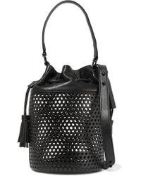 Loeffler Randall | Black Industry Perforated Leather Shoulder Bag | Lyst