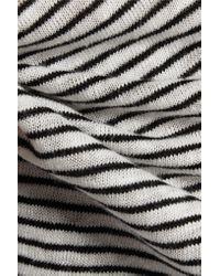Alice + Olivia - Black Ada Striped Linen-blend Top - Lyst