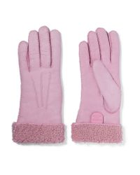 Causse Gantier | Pink Shearling-lined Suede Gloves | Lyst