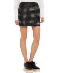 McQ Alexander McQueen - Black Studded Textured-leather Mini Skirt - Lyst