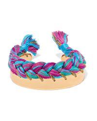 Aurelie Bidermann | Pink Copacabana Gold-plated Braided Cotton Bracelet | Lyst