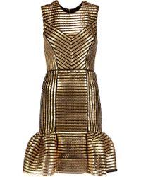 Maje | Metallic Coated Twill And Mesh Mini Dress | Lyst