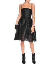 Maje - Black Pleated Coated Twill And Mesh Dress - Lyst