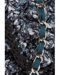 M Missoni | Blue Metallic Textured Crochet-knit Shoulder Bag | Lyst